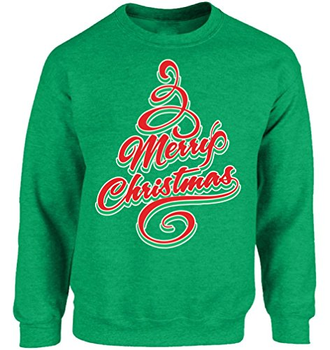 Vizor Merry Christmas Sweatshirt Ugly Christmas Sweater Christmas Tree Sweater Green M