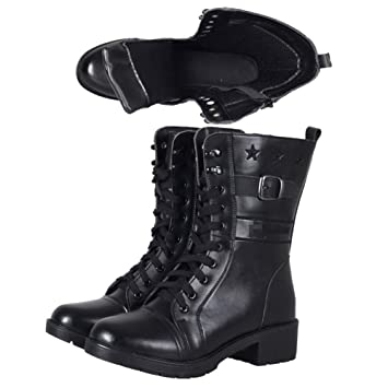 Combat Womens Boots PU Leather Ankle Lace Up Punk Shoes Motorcycle Size Martin