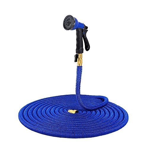 Water Gardening Lights (Ohuhu 75 FT Garden Hose Expandable Hoses, Lightweight Strong Water Hose, Flexible Garden Hose BONUS 8-Pattern Spray Nozzle, Blue)