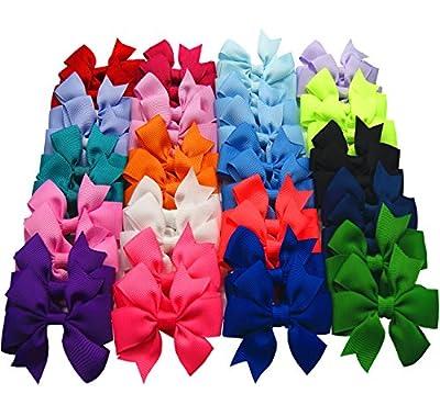 "Big Elephant 40pcs Baby Girls 2.5"" Ribbon 20 Pairs Hair Bows Clips Be047"