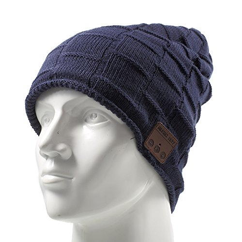Wireless Music Hat, Knit Winter Warm Beanie w/ Built-in Compatible with Bluetooth Stereo Headphone, Microphone for Hands-Free Calling - Dark Blue