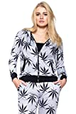 Calilogo Women's Weed Marijuana Pot Leaf Casual Jogging Pants Jacket Includes Free Gift (Small, Jacket)