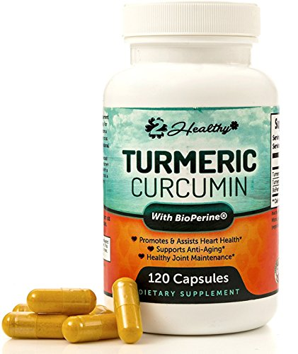 Turmeric Curcumin with BioPerine Black Pepper, 120 Capsules, with 95 Curcuminoids - Highest Potency, All Natural, Non-GMO, Antioxidant for Pain Relief and Joint Support