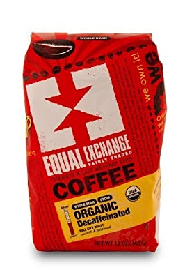 EQUAL EXCHANGE ORGANIC COFFEE: DECAF, WHOLE BEAN, 6 - 12 OUNCE BAGS by Equal Exchange