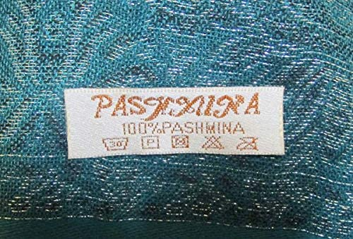 Schultertuch Nr Unbekannt Pashmina Schal 22 Petrol Stola mit Paisley Muster