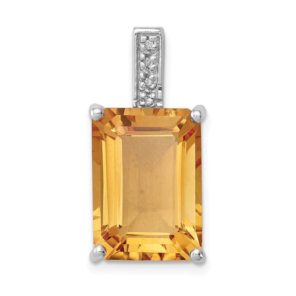Diamond2Deal 925 Sterling Silver Rhodium Plated Citrine Diamond Cross Pendant