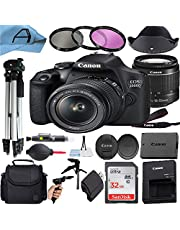 Canon EOS 2000D / Rebel T7 Digital DSLR Camera with 18-55mm Zoom Lens, SanDisk 32GB Memory Card, Case, Tripod, 3 Pack Filters and A-Cell Accessory Bundle (Black)