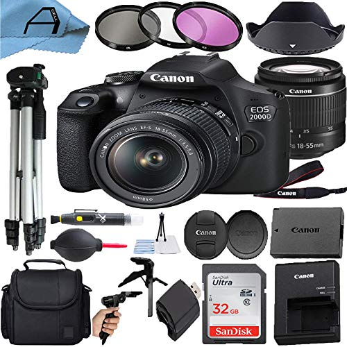 Canon EOS 2000D / Rebel T7 Digital DSLR Camera 24.1MP CMOS Sensor with 18-55mm Zoom Lens + SanDisk 32GB Memory Card…