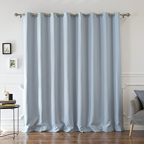 Best Home Fashion Premium Sky Blue Wide Width Silver Stainless Steel Grommet Top Thermal Blackout Curtain 100