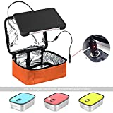 Portable Oven 12V Personal Crockpot Slow Cooker Microwave with Stainless Steel Lunch Containers – Mini Food Warmer Bag for Car, Business Travel, Camping, Truckers, Office Desk Orange