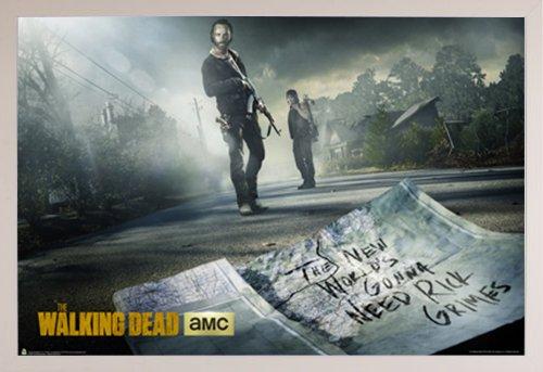 The Walking Dead Season 5 Poster in a White Plastic Frame  2
