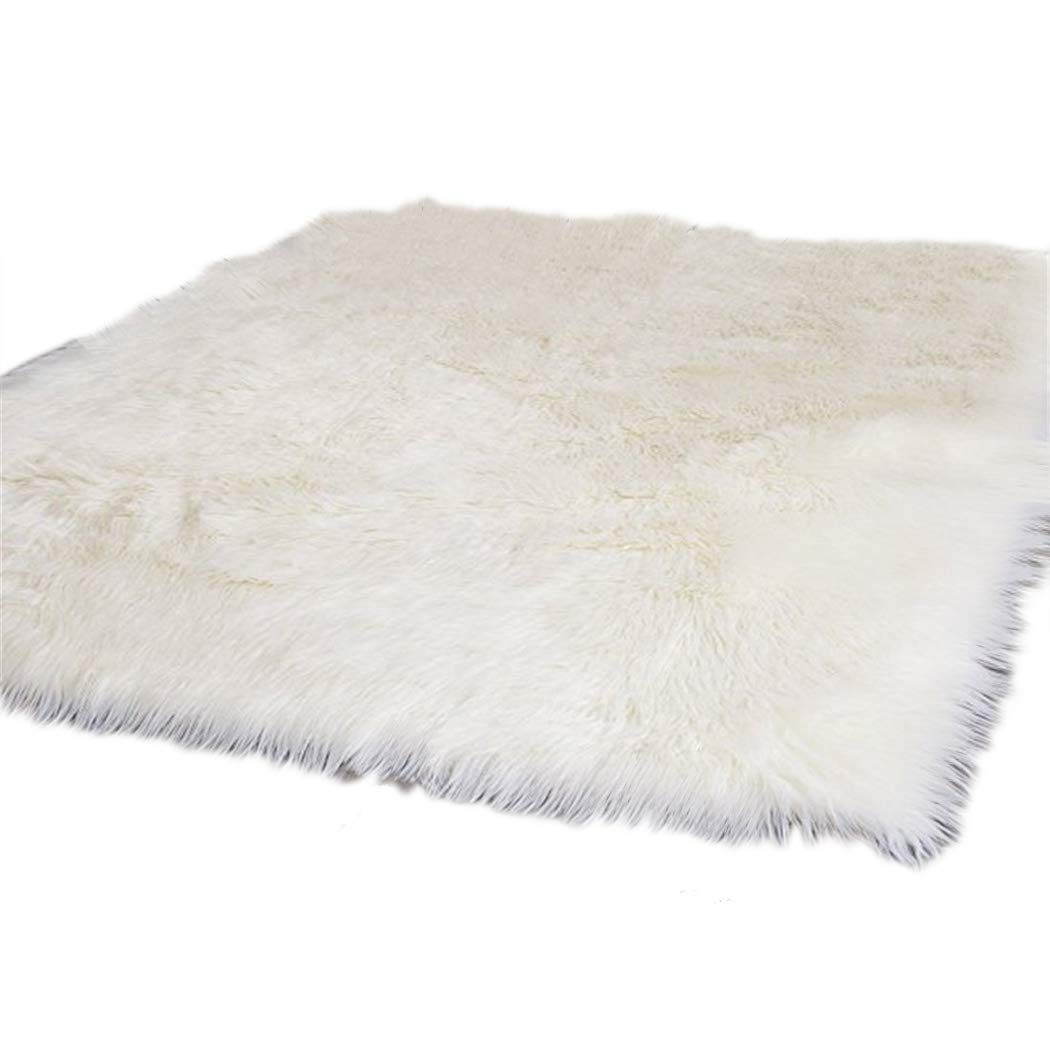 Elhouse Home Decor Soft Mat Square Rugs Faux Fur Sheepskin Area Rug Baby Nursery Bedroom Shaggy Carpet Fluffy Rug, 5ft x 7ft White