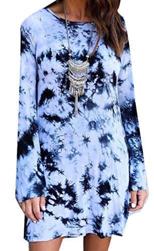 (lovever Women Long-Sleeved Tie-Dye Printing Backless Slim Fit Mini Dress Blue L)