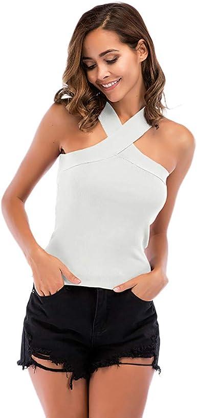 Camisetas sin Mangas Mujer,Lenfesh Mujeres Top Sexy sin Tirantes Chaleco sin Mangas de Mujer Blusa Halter Básico Verano: Amazon.es: Ropa y accesorios