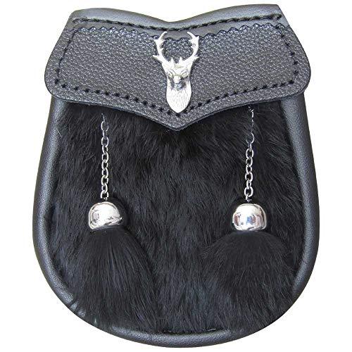 AAR Brand New Boy Sporran Fur with Stag Head Badge (Black Fur) by AAR
