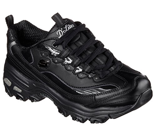 Skechers Sport Women's D'Lites Memory Foam Lace-up Sneaker,Black Silver,8.5 M US (Care Athletic Shoe)