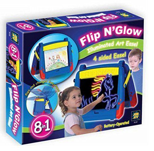 AMAV Flip 'N Glow Table Top Easel for Kids - The Ultimate Art Center for Crafty Kids With 8 Different Features in One Table. Tracing and drawing board with magnetic side, toy light up pad