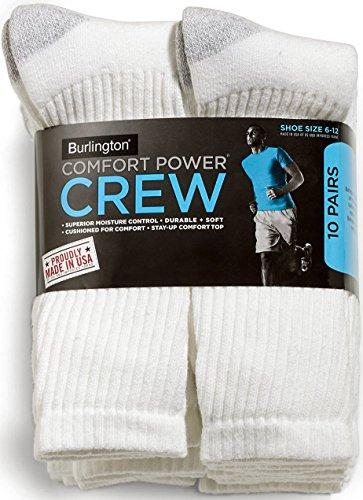 Burlington Comfort Power Mens 10 Pair White Crew Socks - Burlington Men