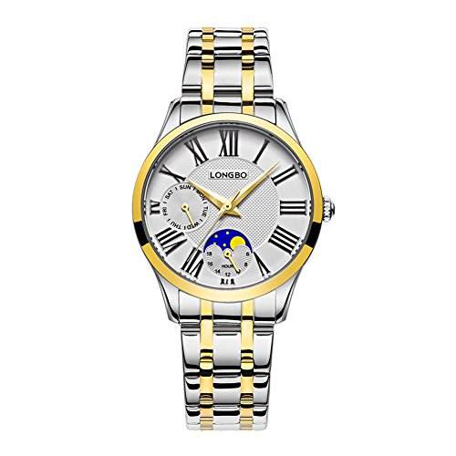 LONGBO Fashion Elegant Women Analog Quartz Gold Hands Exquisite White Dial Decorative Moon Phase Chrono Roman Numeral Auto Day Watches Steel Strap Waterproof WristWatch for Lady - Moon Phase White Dial