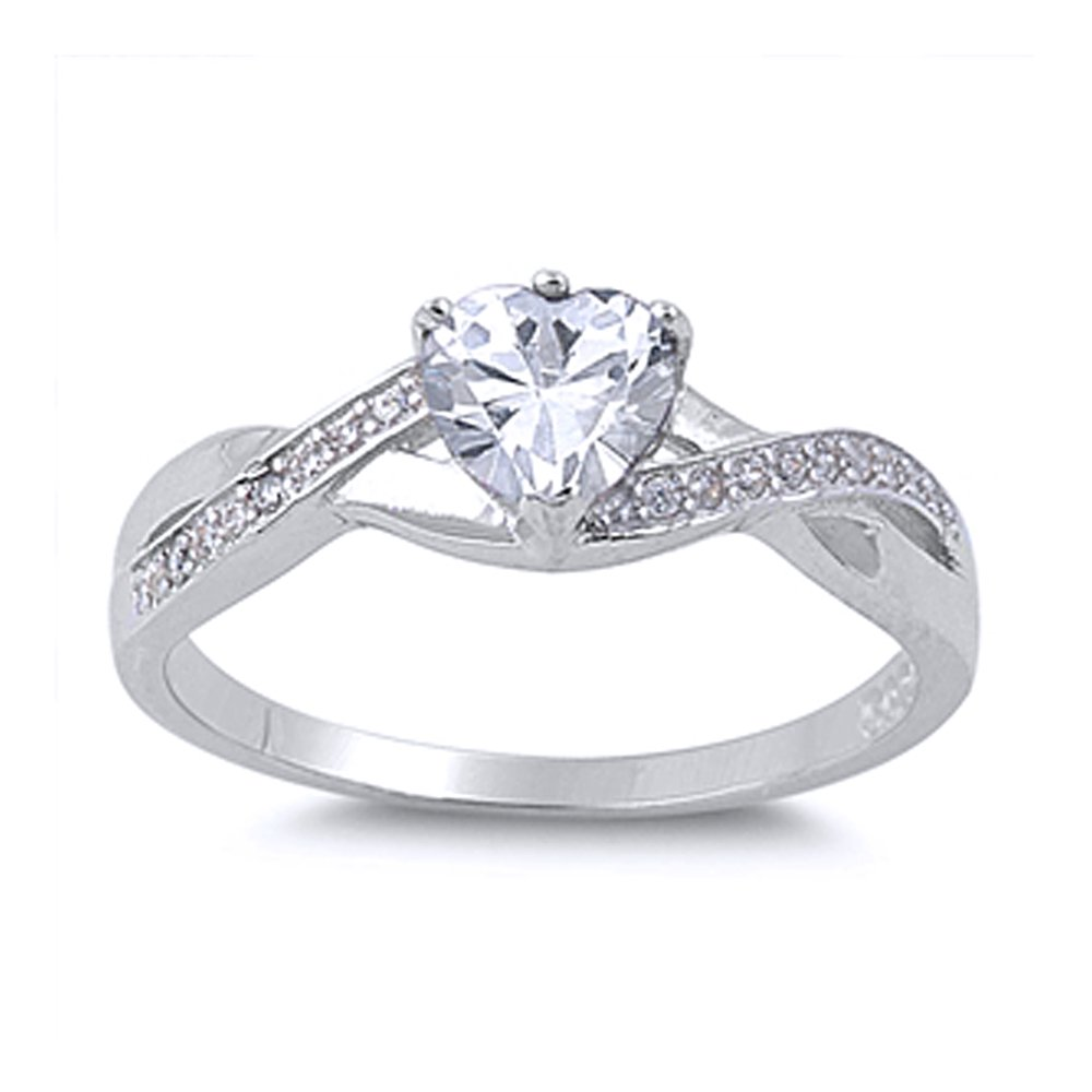 Sterling Silver Infinity Band CZ Heart Promise Ring 5MM (Size 4 to 12), 12