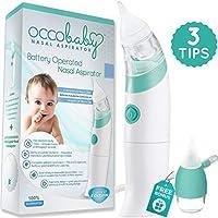 Aspirador nasal para bebés OCCObaby - Limpiador de nariz seguro, higiénico y con pilas, con 3 tamaños de puntas de nariz y lechón de moco oral para recién nacidos y niños pequeños (edición limitada)