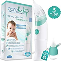 OCCObaby Baby Nasal Aspirator - Safe Hygienic and Quick Battery Operated Nose Cleaner with 3 Sizes of Nose Tips Includes Bonus Manual Snot Sucker for Newborns and Toddlers (Limited Edition)