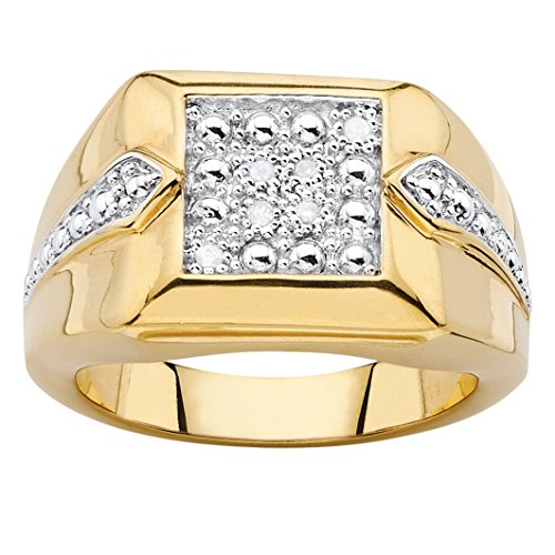 en's White Diamond Accent 18k Gold-Plated Two-Tone Square Cluster Ring Size 11 (18k Two Tone Diamond Ring)