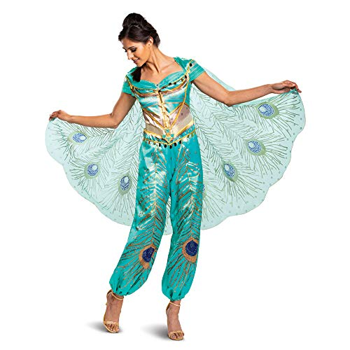 Jasmine Costumes For Adults (Disguise Women's Jasmine Teal Deluxe Adult Costume, L)