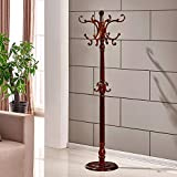 Standing Wood Coat Rack,Waterproof Wooden Clothes Racks Hat Hanger Holder Racks Strong Stable Assemble Saving Space Hooks Cloakroom Bedroom Living Room Hat Coat Jacket Scarf-A 185cm(73inch)