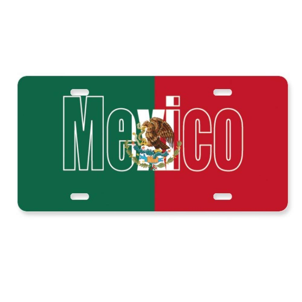Mexico Country Flag Name License Plate Car Decoration Stainless Steel Accessory