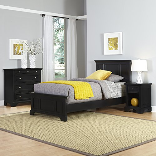 Home Styles  Bedford Twin Bed, Night Stand and Chest, Black