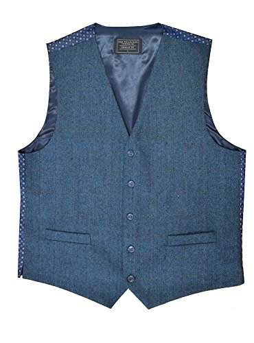 (LA Smith Men's Wool Blend Waistcoat, Blue Herringbone (M))