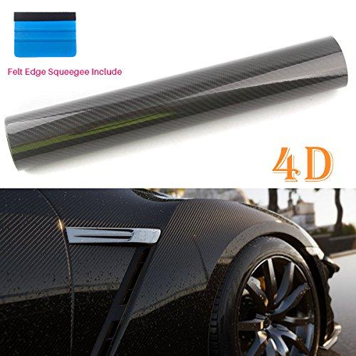- PEATOP Carbon Fiber Vinyl Wrap High Gloss Bubble Free Air Release 4D Texture Sheet Roll Film (60
