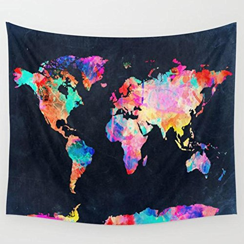 Wall Art Home Decor Tapestry Retro Watercolor World Map Cotton Blend Wall Tapestry Wall Hanging Boho Tapestry Hippie Hippy Tapestry Beach Coverlet - Colors Hippy