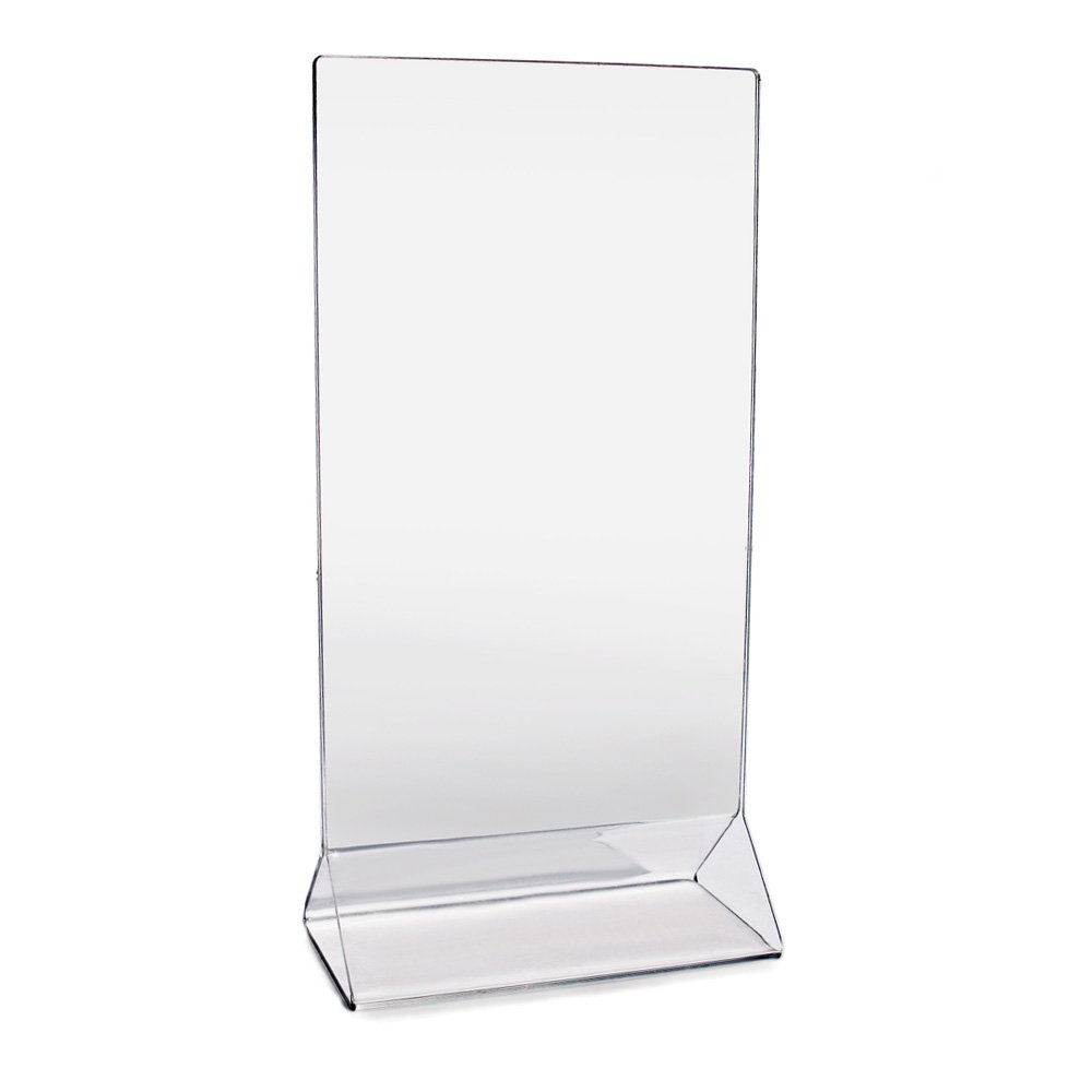 New Star Foodservice 22971 Acrylic Table Menu Card Holder, 4 by 8-Inch, Clear, Set of 12