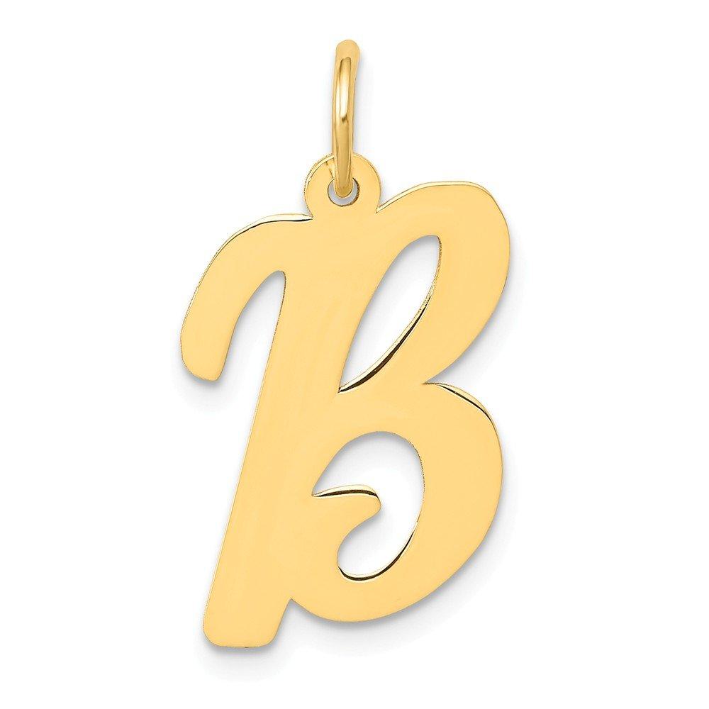 Jewel Tie 14k Yellow Gold Large Script Initial B Pendant Charm 15mm x 22mm