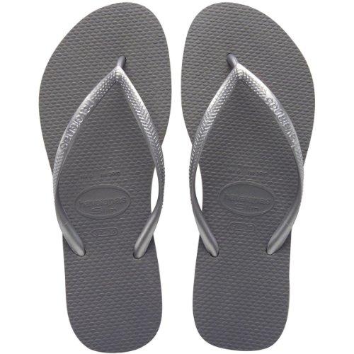 Havaianas Women's Slim Animals Sandal Flip Flop, Steel Grey, 39 BR/9/10 M US