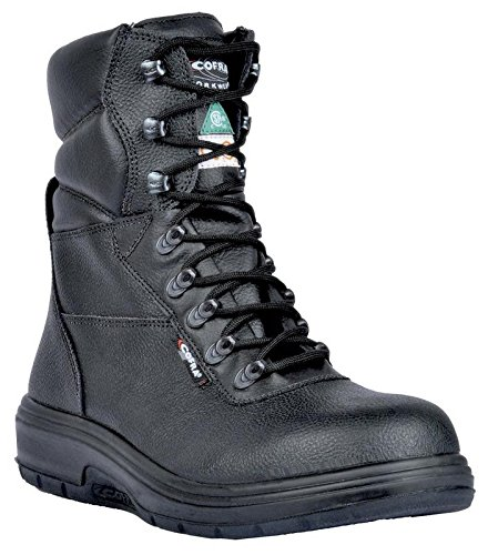 COFRA Leather Work Boots - US Road Treadless Asphalt Footwear with Composite Safety Toe & Heat Defender Nitrile Rubber Outsole -