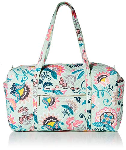 Vera Bradley Iconic Large Travel Duffel, Signature Cotton, Mint Flowers ()