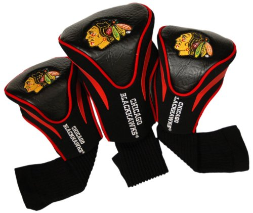 Team Golf NHL Chicago Blackhawks Contour Golf Club Headcovers (3 Count), Numbered 1, 3, & X, Fits Oversized Drivers, Utility, Rescue & Fairway Clubs, Velour lined for Extra Club Protection