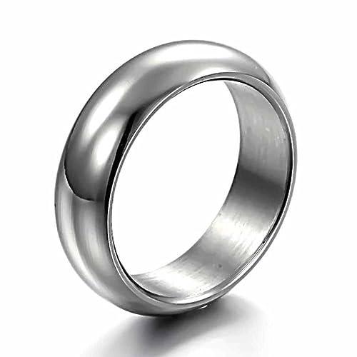 KNSAM Unisex Stainless Steel Anillo de Pedida Plata Alianzas Acabado de Ajuste Cómodo Size 7