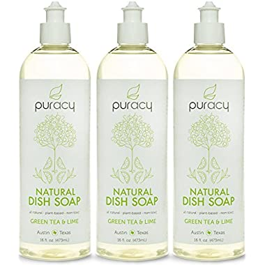 Puracy Natural Liquid Dish Soap - No Sulfates (SLS, SLES, SCS) - THE BEST Dishwashing Detergent - Extra Suds - Won't Dry Your Hands Out - Vegan, Gluten-Free, Safe - Green Tea & Lime - Pack of 3