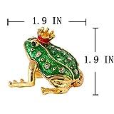 Crystal Jeweled Crown Frog Trinket Box Hinged