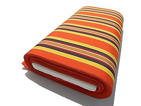 Stoffa Per Sedie A Sdraio.Vivi Casa Tessuto Tela Per Sedia A Sdraio H 45 Cm Tinta Unito Righe Vendita Al Metro Multicolor Arancio