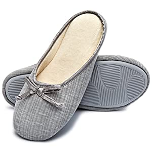 Cozy Niche Women's Comfort Knitted Memory Foam House Shoes Ballerina Slippers w/Indoor Outdoor Rubber Sole