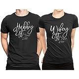 Hubby est Wifey est Month & Year Couple Matching T-shirt Honeymoon valentines day Men Large / Women XX-Large   Black - Black