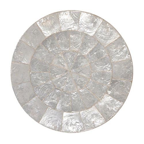 Kim Seybert Round Capiz Shell Accent Placemat 15''D Natural Color by Kim Seybert