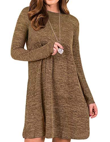 3dbabef71a9 Sanifer Women's Knit Long Sleeve T Shirt Dress Sweater Dress Tunic Dress