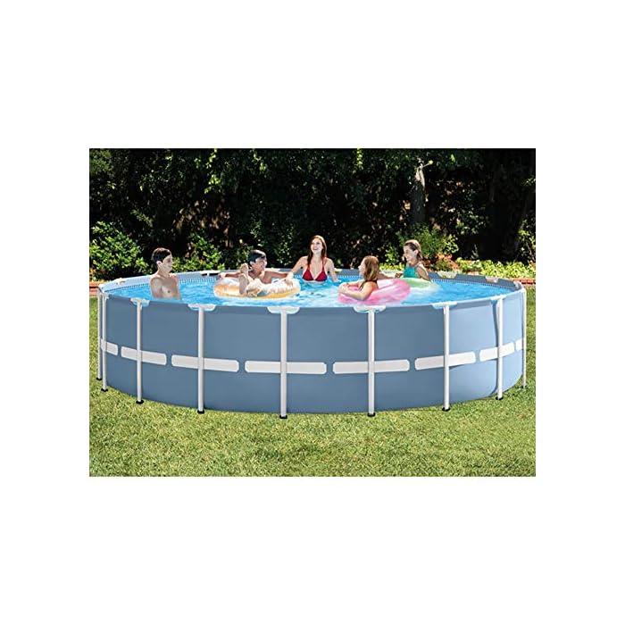 51zbEJOYA7L Esta es una alternativa asequible y fácil de instalar para un modelo inflable. Disfruta de un divertido verano con una piscina de marco redondo. Los duraderos marcos de metal soportan el uso de una gran cantidad de usos y elementos.