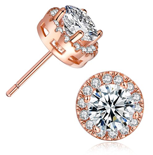 MDFUN 18K Rose Gold Plated Round Cubic Zirconia Stud Earring For Women